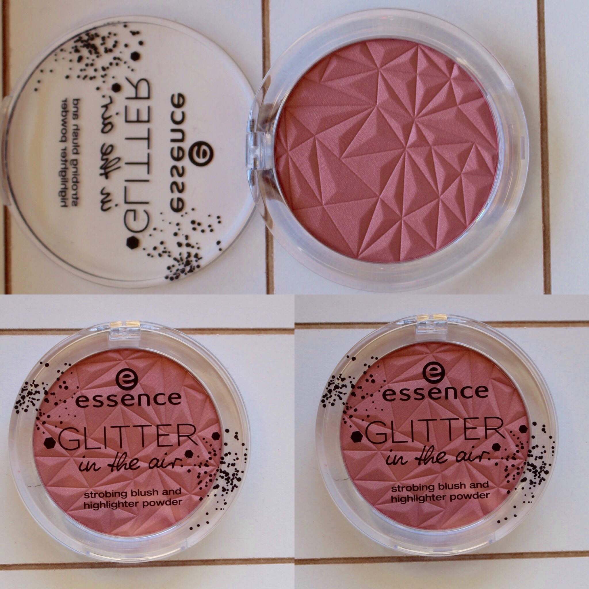 essence glitter in the air strobing blush